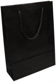 Torba papierowa laminowana NC Prestige, 200x80x320mm, czarny
