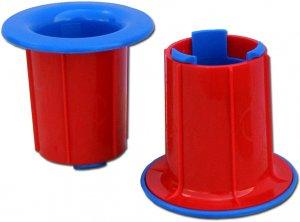 Uchwyt do folii stretch, plastik, 2 sztuki, czerwono-niebieski