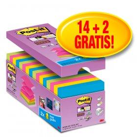 Bloczek samoprzylepny Post-It Super sticky Z-Notes (R330-SS-VP16) 14 + 2 bloczki gratis, 76x76mm, 16x90 karteczek, mix kolorów