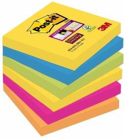 Notes samoprzylepny Post-it Super Sticky Rio de Janeiro, 76x76mm, 6x90 karteczek, mix kolorów