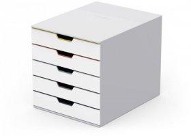 Pojemnik Durable Varicolor mix 5, z 5 szufladami, do dokumentów, C4, biały