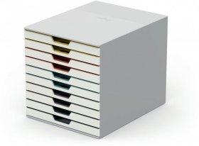 Pojemnik Durable Varicolor mix 10, z 10 szufladami, do dokumentów, C4, biały