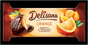 Biszkopty w czekoladzie Delicpol Delisana, z galaretką pomarańczową, 135g
