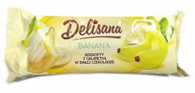 Biszkopty w białej czekoladzie Delicpol Delisana, z galaretką bananową, 135g