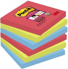 Notes samoprzylepny Post-it Super Sticky Z-Notes Bora Bora, 76x76mm, 6x90 karteczek, mix kolorów
