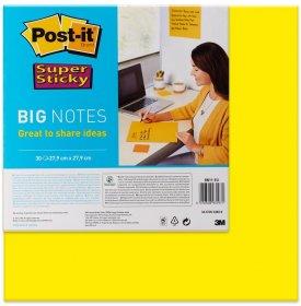 Karteczki samoprzylepne Post-it Super Sticky Big Notes, 279x279mm, 30 karteczek, żółty