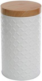 Puszka Altom Relief, z imitacją bambusowej pokrywy, okrągły, 11x11X18.5cm, biały