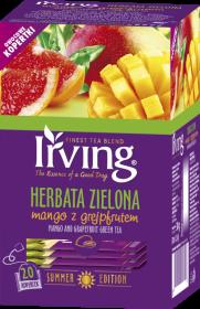Herbata zielona smakowa w kopertach Irving, mango z grejpfrutem, 20 sztuk x 1.5g