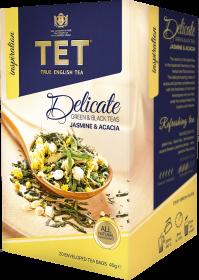Herbata zielona smakowa w kopertach Tet Delicate, zielona i czarna herbata z jaśminem, 20 x 2g