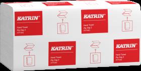 Ręcznik papierowy Katrin Classic, dwuwarstwowy, w składce ZZ, 200 składek, biały