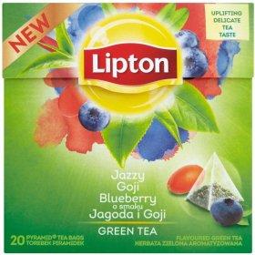 Herbata zielona smakowa w piramidkach Lipton, jagody goji, 20 sztuk x 1.4g