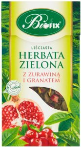 Herbata zielona liściasta Bifix, z żurawiną i granatem, 100g