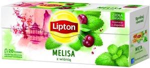 Herbata ziołowa w torebkach Lipton, melisa z wiśnią, 20 sztuk x 1.2g