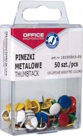 Pinezki klasyczne Office Products, w pudełku, 50 sztuk, mix kolorów