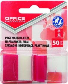 Zakładki samoprzylepne Office Products, indeksujące, folia PP, 25x43mm, 1x50 sztuk, czerwony