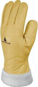 Rękawice ocieplane Delta Plus FBF15, skóra licowa bydlęca, rozmiar 10, żółty