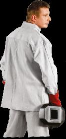 Kurtka spawacza KSB JS, rozmiar 170-182cm, klatka 112-126cm, skórzana, biały