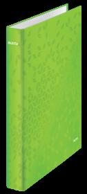 Segregator Leitz Wow, A4, szerokość grzbietu 40mm, do 230 kartek, 4 ringi, zielony metalik