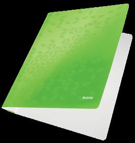 Skoroszyt kartonowy bez oczek Leitz Wow, A4, do 250 kartek, 80g/m2, zielony metalik