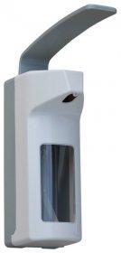 Dozownik płynów Merida, z przyciskiem łokciowym, 500 ml, biało-szary