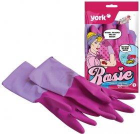 Rękawice lateksowe domowe, zapachowe York Rosie, z powłoką antybakteryjną, rozmiar L, 1 para, różowy (c)
