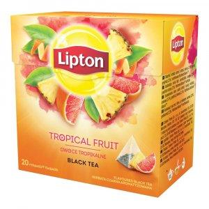 Herbata czarna aromatyzowana w piramidkach Lipton, owoce tropikalne, 20 sztuk x 1.2g