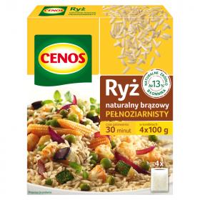 Ryż Cenos, naturalny brązowy, pełnoziarnisty, 4x100g