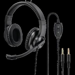 Słuchawki przewodowe Hama, PC-Office-Headset HS-P300, z pałąkiem i mikrofonem, czarny