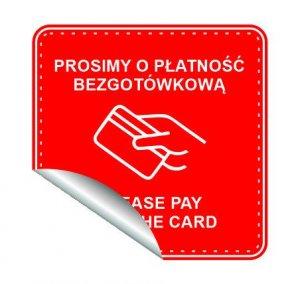 """Naklejka informacyjna """"Płatność bezgotówkowa"""", 33x33cm, czerwony (c)"""