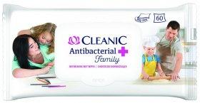 Chusteczki antybakteryjne Cleanic Antybacterial Family, 60 sztuk, biały (c)