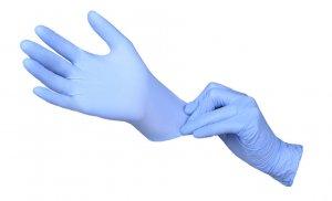 Rękawiczki jednorazowe nitrylowe, rozmiar M, 100 szt, niebieski (c)