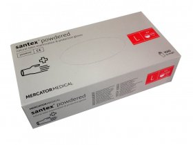 Rękawiczki jednorazowe lateksowe  Santex, pudrowane, rozmiar  L, 100 sztuk, kremowy  (c)