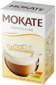 Kawa rozpuszczalna w saszetkach Mokate Cappuccino, waniliowy, 8 sztuk x 20g