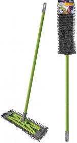 Mop płaski z mikrofibry Azur Slim Salsa - kij+uchwyt do mopa+mop, szaro-zielony