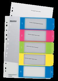 Przekładki plastikowe numeryczne Leitz Wow, do nadruku tekstu na kartę, A4+, 1-5 przekładek, mix kolorów