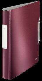 Segregator Leitz Style SoftClick, A4, szerokość grzbietu 52mm, do 280 kartek, 4 ringi, ciemnoczerwony