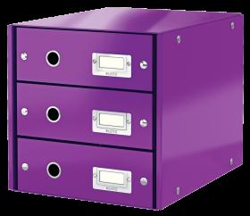 Pojemnik Leitz Click&Store Wow, z 3 szufladami, do dokumentów, A4, fioletowy