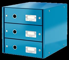 Pojemnik Leitz Click&Store Wow, z 3 szufladami, do dokumentów, A4, niebieski