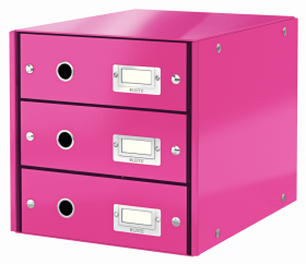 Pojemnik Leitz Click&Store Wow, z 3 szufladami, do dokumentów, A4, różowy