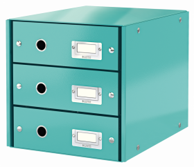 Pojemnik Leitz Click&Store Wow, z 3 szufladami, do dokumentów, A4, turkusowy
