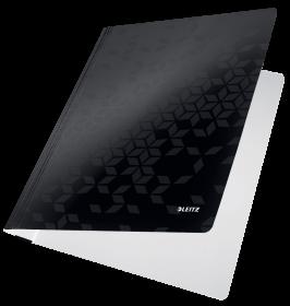Skoroszyt kartonowy bez oczek Leitz Wow, A4, do 250 kartek, 300g/m2, czarny
