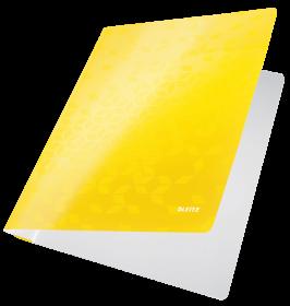 Skoroszyt kartonowy bez oczek Leitz Wow, A4, do 250 kartek, 300g/m2, żółty