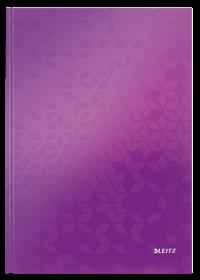 Brulion w kratkę Leitz Wow, A4, twarda oprawa, 80 kartek, fioletowy