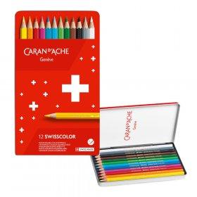 Kredki ołówkowe sześciokątne Caran d'Ache Swisscolor Aquarelle, z efektem akwareli, 12 sztuk, mix kolorów