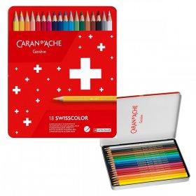 Kredki ołówkowe sześciokątne Caran d'Ache Swisscolor Aquarelle, z efektem akwareli, 18 sztuk, mix kolorów