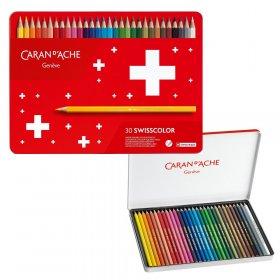 Kredki ołówkowe sześciokątne Caran d'Ache Swisscolor Aquarelle, z efektem akwareli, 30 sztuk, mix kolorów