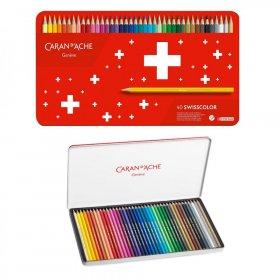 Kredki ołówkowe sześciokątne Caran d'Ache Swisscolor Aquarelle, z efektem akwareli, 40 sztuk, mix kolorów