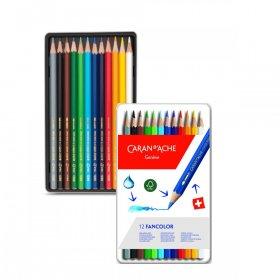 Kredki ołówkowe sześciokątne Caran d'Ache Fancolor, 12 sztuk, mix kolorów