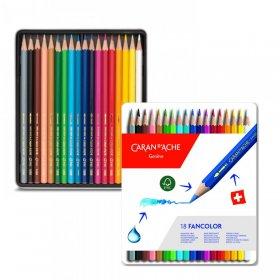 Kredki ołówkowe sześciokątne Caran d'Ache Fancolor, 18 sztuk, mix kolorów