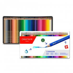 Kredki ołówkowe sześciokątne Caran d'Ache Fancolor, 40 sztuk, mix kolorów